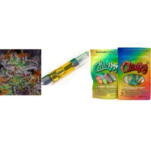 Supreme Combo – One Cannabis Cart, 1/4 oz of premium flower, Two edible gummies packs